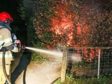 Brandweer blust fikkende heg achter groente- en fruitwinkel aan de Zeeasterstraat in Emmeloord