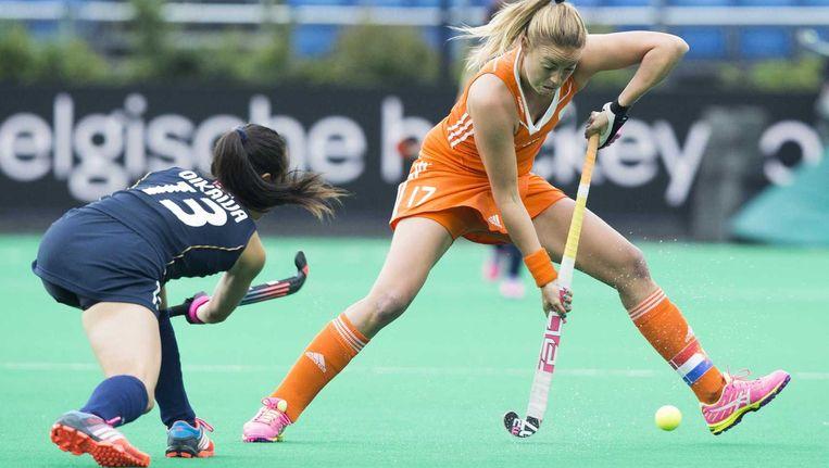 Maartje Paumen speelde tegen Japan haar 200ste interland. Beeld ANP