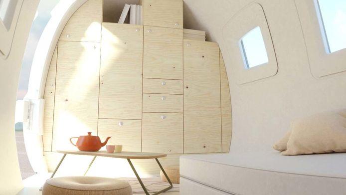 Het interieur van de Ecocapsule