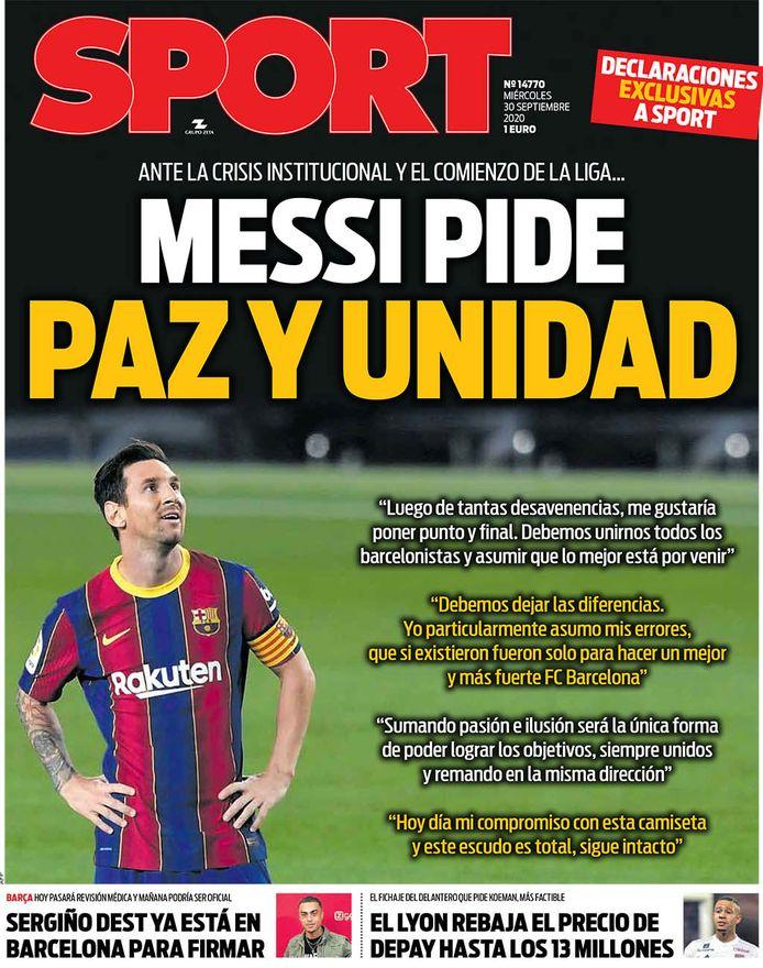 De voorpagina van Sport.