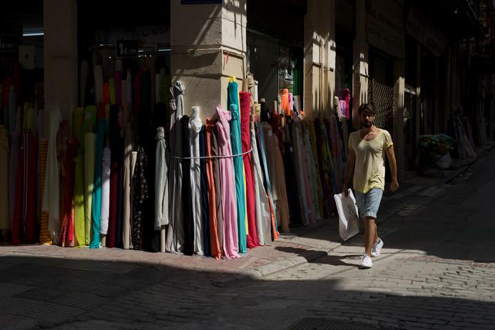 Een stoffenwinkel in Athene.