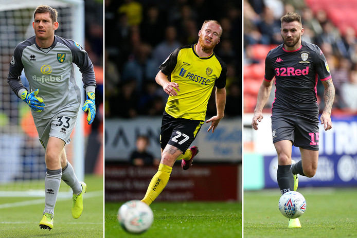 Vlnr: doelman Michael McGovern, aanvaller Liam Boyce en middenvelder Stuart Dallas.