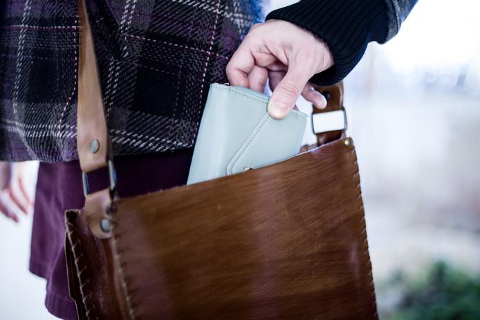 Pickpocket Stealing a Wallet from a Leather Bag zakkenroller tas beroving