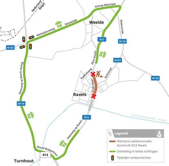 De omleidingsroute voor de wegenwerken in het centrum van Ravels