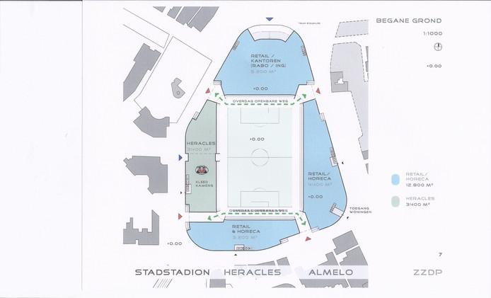 Het plan zoals Urban Interest dat heeft voor een stadion in de binnenstad. Linksboven ligt de stadsvijver met restaurant Kreta, rechtsboven restaurant Nielz. Midden onder staat de oude rechtbank. Illustratie: Urban Interest
