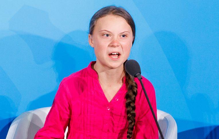 Klimaatactiviste Greta Thunberg spreekt wereldleiders toe bij de klimaattop in New York.  Beeld EPA