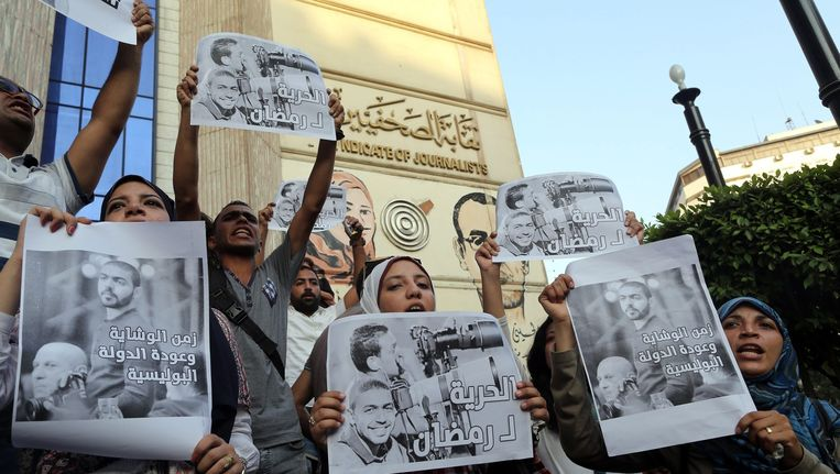 Journalistenprotest voor de rechtbank in Caïro Beeld anp
