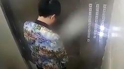Viespeuk plast in lift en krijgt zijn verdiende loon