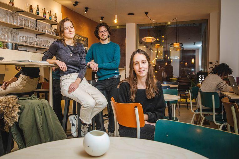 Joke, Quinten en Evelien van The Manufactory in de Onderstraat.