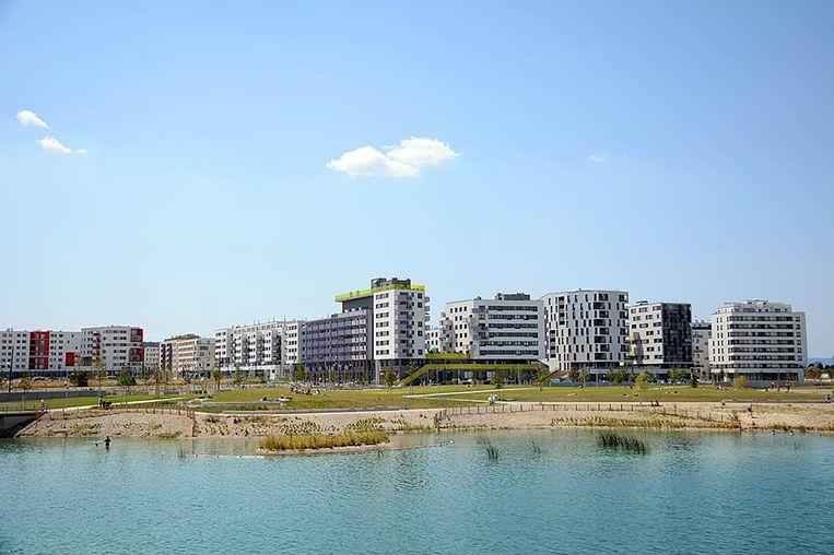 De wijk Seestadt in Wenen. Beeld