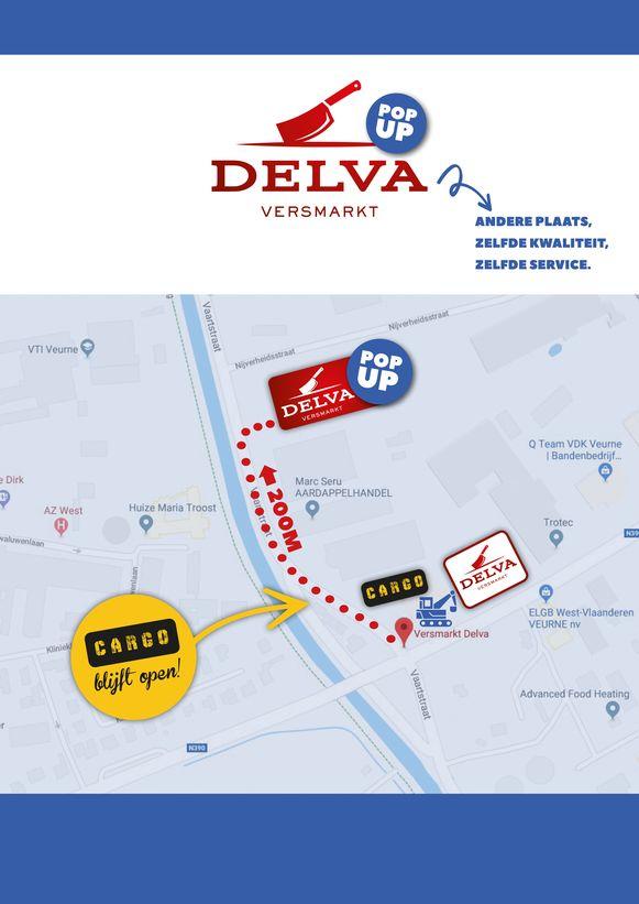 Op dit kaartje zie je dat de tijdelijke winkel 200 meter verder ligt dan nu.