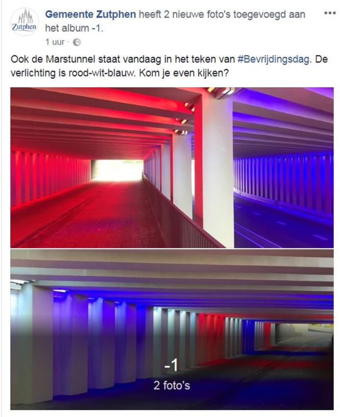 Marstunnel in Zutphen in speciale kleuren op Bevrijdingsdag ...