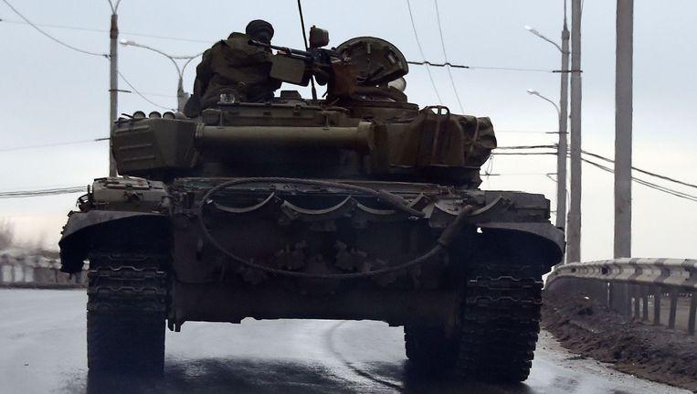 Een tank in Donetsk. Beeld AFP