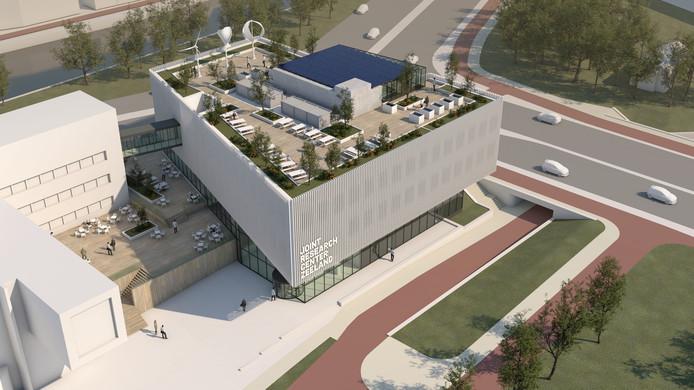 Artist's Impression van het Joint Research Center in Middelburg, dat in het studiejaar 2021/2022 in gebruik genomen wordt.