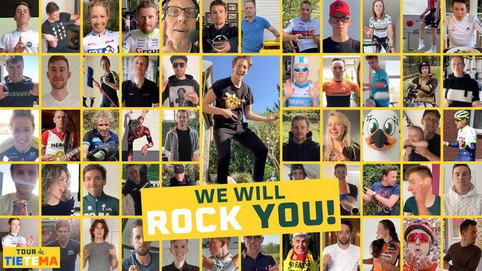 Wielrenners doen mee met de We Will Rock You-challenge van Tour de Tietema.