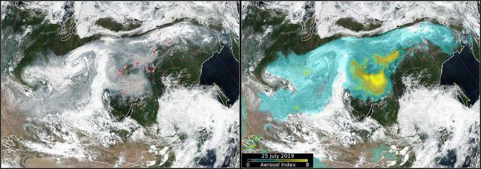 Satellietbeelden laten de brandhaarden zien (links) in Siberië.