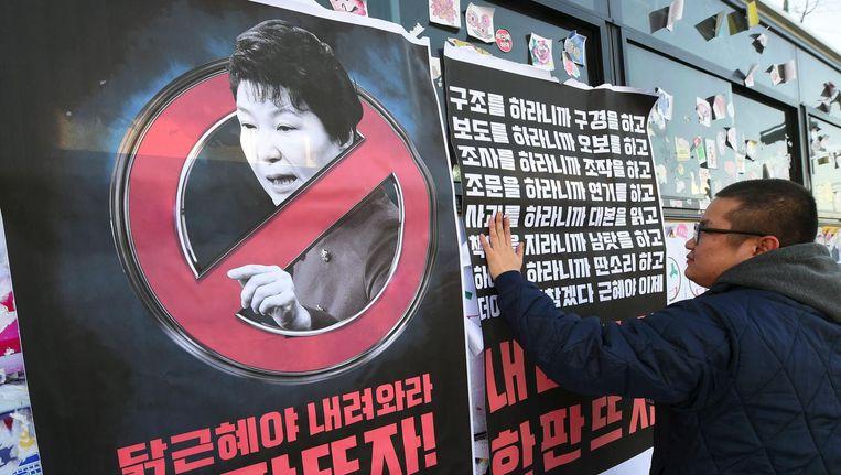 Protest in Seoul tegen de Koreaanse president Park. Beeld afp