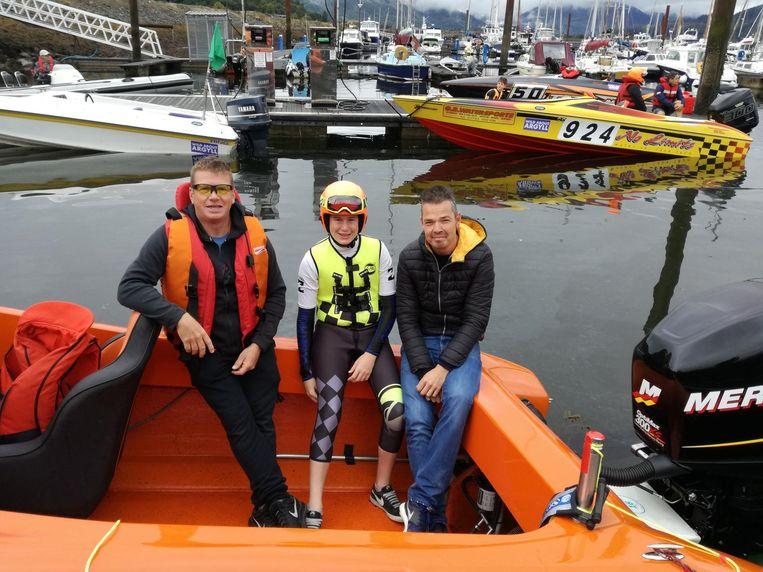 Co-piloot Brian Moons, Kobe Verbraecken en piloot Steve Landuyt.