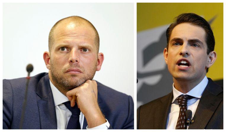 Voormalig staatssecretaris voor Asiel en Migratie Theo Francken (N-VA) en Vlaams Belang-voorzitter Tom Van Grieken.