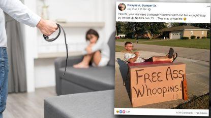 Vader biedt ouders via internet aan om kinderen billenkoek te geven als ze zich niet gedragen. De reacties zijn hevig