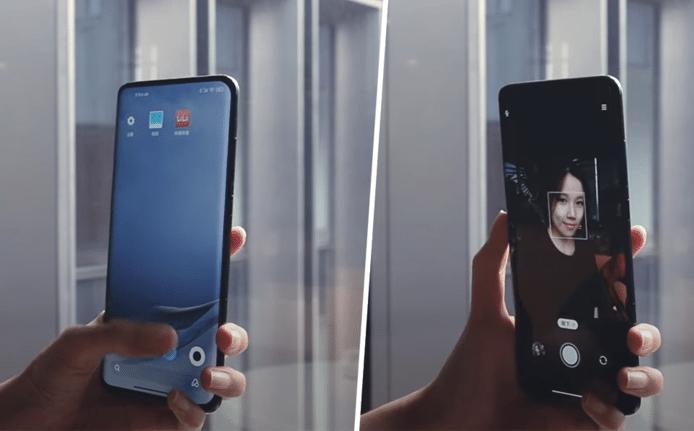 De smartphone van Xiaomi met selfiecamera onder het scherm