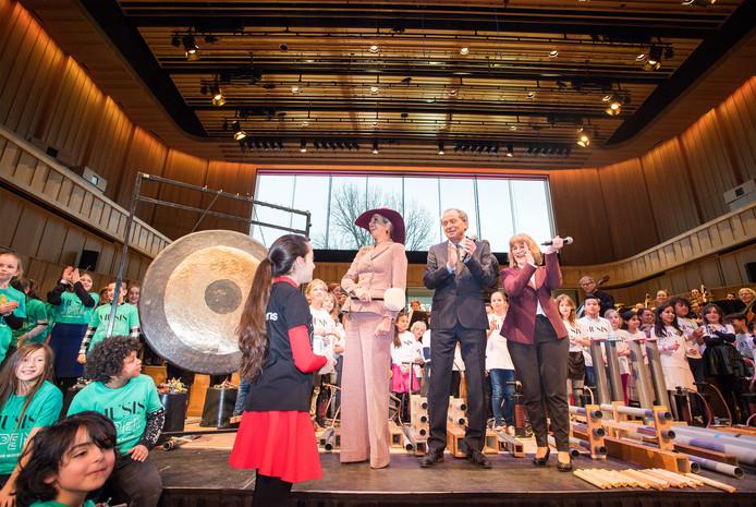 De nieuwe Parkzaal van concertgebouw Musis in Arnhem tijdens de officiële opening door koningin Máxima in januari 2018.