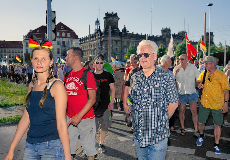 Een Pegida-demonstratie in Dresden.