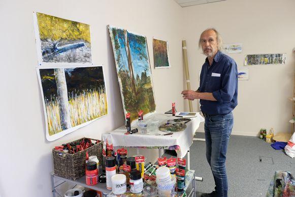 Geert De Blust in zijn atelier in de Albert Building.