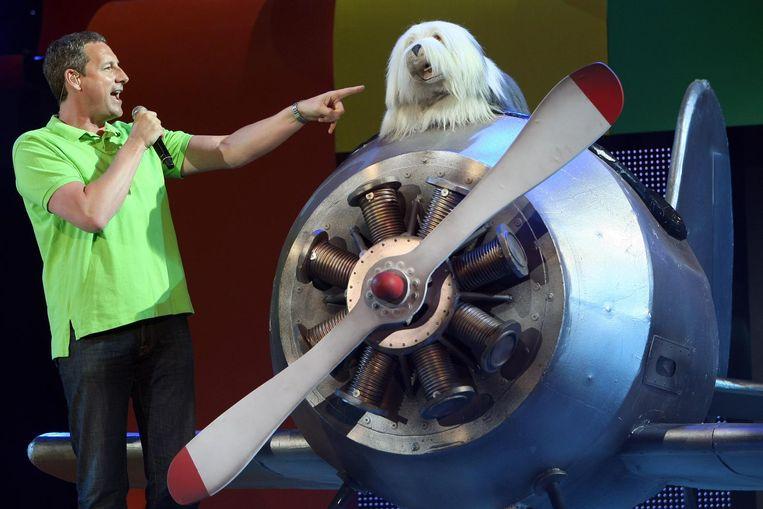 Samson en Gert tijdens het Studio 100 Zomerfestival in de Arena. Beeld anp