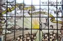 Het 'herdenkingsraam', gemaakt ter gelegenheid van de bevrijding en de geboorte van Irene Victoria.