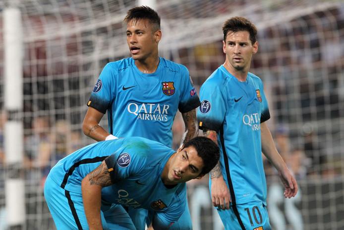 Luis Suárez, Neymar en Lionel Messi tijdens AS Roma - FC Barcelona (1-1) op 16 september 2015.