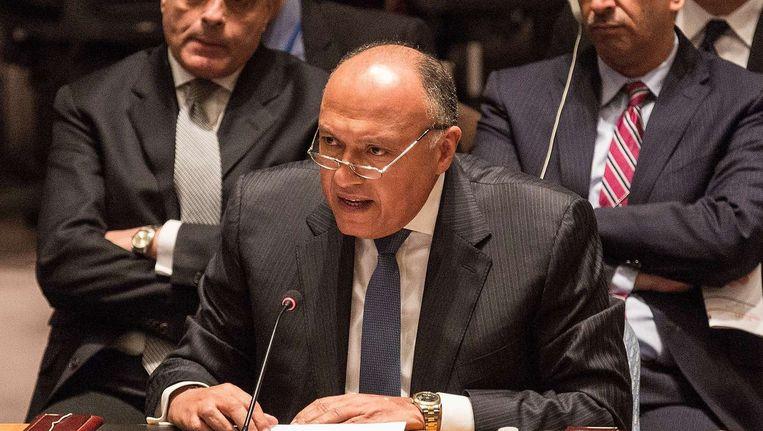 De Egyptische minister van Buitenlandse Zaken Shoukry spreekt in de Veilgheidsraad. Beeld afp