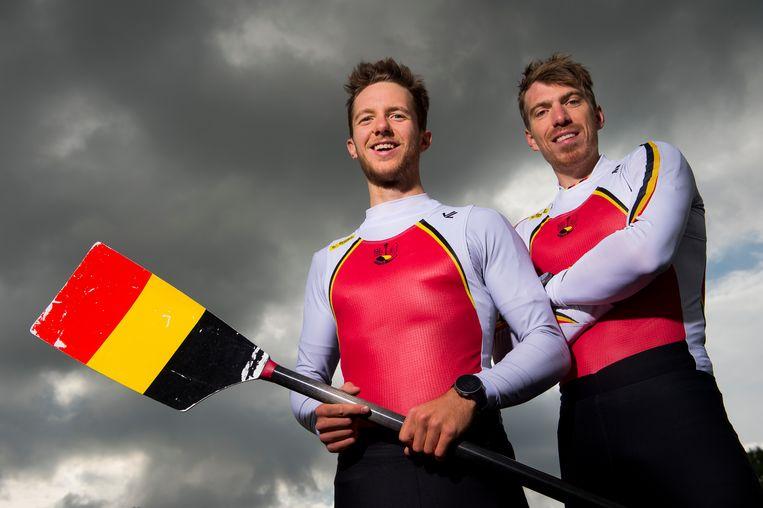 Roeiers Niels Van Zandweghe (l.) en Tim Brys