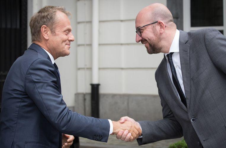 Charles Michel (rechts) en uittredend voorzitter van de Europese Raad Donald Tusk tijdens een eerdere ontmoeting.