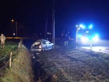Auto botst tegen boom en belandt in sloot, bestuurder gewond