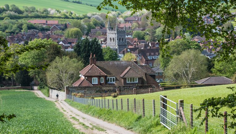 Het dorp Great Missenden. Een gehucht met één hoofdstraat. Beeld Stock