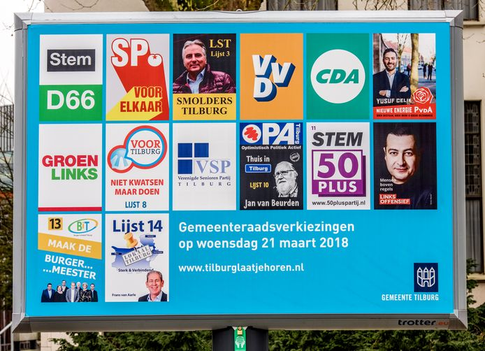 Verkiezingsbord in Tilburg.