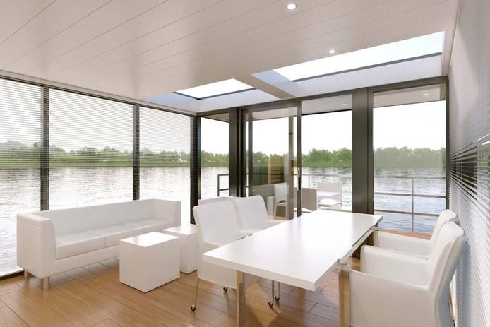 Interieur van een exclusieve variant van de houseboat van Gielissen, ontworpen door Jan des Bouvrie.
