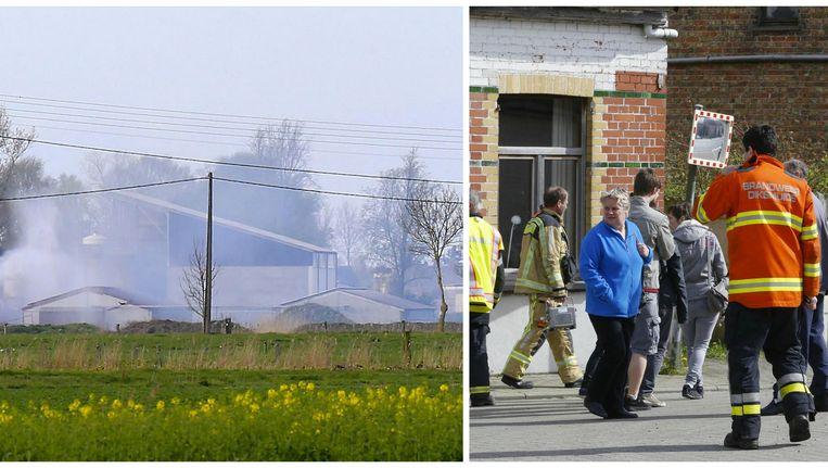 De situatie is intussen onder controle. Met een vernevelingsscherm wil de brandweer de giftige gassen neerslaan. De bewoners van Sint-Pieters-Kapelle kunnen hun huizen weer betreden.