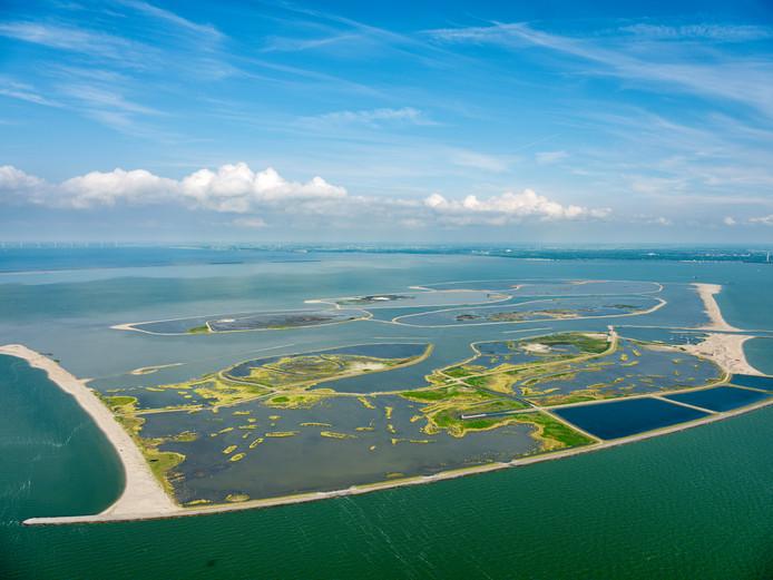 Luchtfoto van de Marker Wadden.