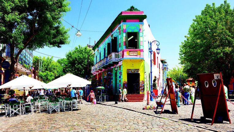 Kleurrijke woningen zijn heel karakteristiek voor de wijk La Boca.