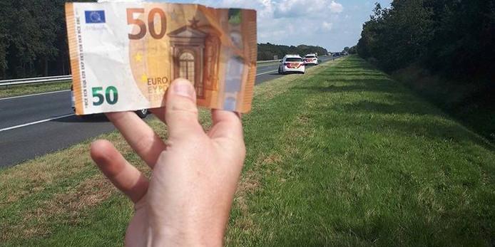 Eén van de gevonden biljetten.