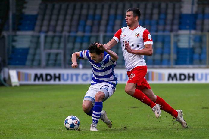 Daryl van Mieghem in zijn laatste duel voor De Graafschap, op 19 december tegen FC Utrecht.