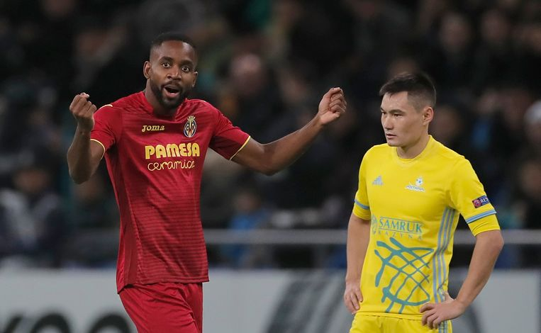 Cedric Bakambu (links) was in 2017 nog actief met Villareal in de Europa League.