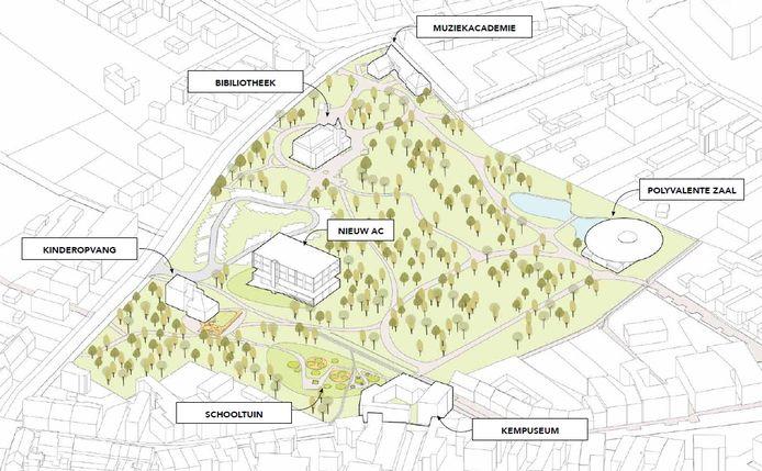Een schets van hoe de Parkcampus in Brecht eruit zou kunnen gaan zien.