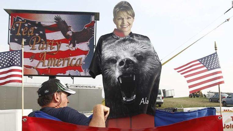Een bord met daarop de beeltenis van Sarah Palin. Beeld reuters