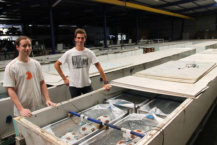 Zonen Nick en Brecht bij de diepvriezers waar ze de ijsblokken in maken. Momenteel vriezen ze enkele voetballen in ijsblokken in voor een wedstrijd.