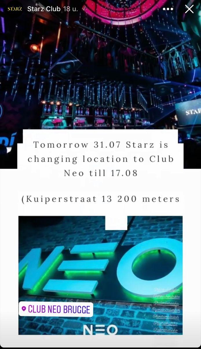 Starz Club wordt tijdelijk Club Neo.