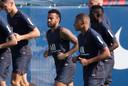 Neymar op de training van PSG.