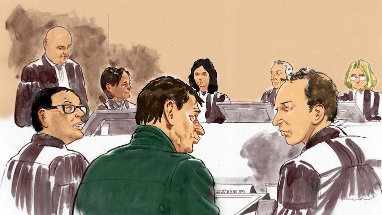 Een rechtbanktekening van Willem Holleeder in de rechtszaal Beeld anp
